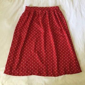 Vintage 90s Red & White Polka Dot Midi Skirt